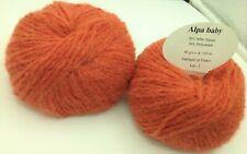 5 pelotes de laine bébé alpaga  paprika - extréme douceur  - Fabriqué en France