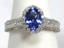Tanzanite Ring 14K White Gold Pave Halo Antique Style Heirloom AAA+ 1.57ct