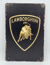 Garage Sign with Lamborghini Logo Black