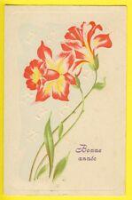 Carte Postale Ancienne en RELIEF Postée en 1907 BONNE ANNÉE Fleurs JONQUILLES