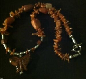 Butterfly carnelian,coral, agate & Jasper necklace AWESOME Dezigns By Zetroc