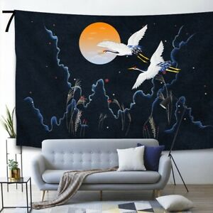 180X130cm Japanese Tapestry Crane Printed Wall Hanging Fabric Picture Home Decor