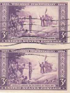 1935 Used 3ct Violet Wisconsin Tercentenary Imperforate Pair #755
