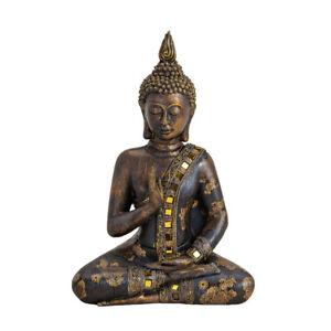 Buddha Figur sitzend in Schwarz aus Poly Höhe 28cm Feng Shui Statue