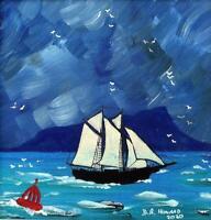 Sailing Off Eigg Hebrides Original Scottish Oil Painting by David R Howard
