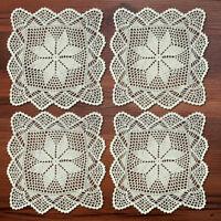 """4Pcs/Lot Square Crochet Doilies Vintage Cotton Lace Doily Table Cover Mats 12"""""""