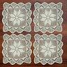 """4Pcs/Lot Square Handmade Crochet Placemats Table Doilies Cotton Lace Beige 12"""""""