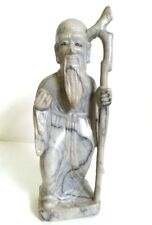 ANTIQUE EARLY ASIAN HAND CARVED MARBLE SCULPTURE MAN W STICK & ROCK COLLECTIBLE