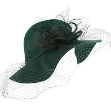 Winter 100% Wool Felt Netting Overlay Fedora Floppy Wide Brim Derby Hat Green