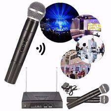 Profesional Inalámbrico Dual Handheld VHF Radio + 2 Micrófonos Mic Sistema