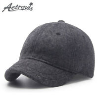 [AKIZON]Winter Baseball Caps for Men Short Visor Black Wool Cap Men 2018 Dad