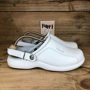 ToffeIn Ultra Lite Women's White Leather Medical Clogs w/Strap Size UK8 EU42