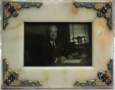 MAGNIFICENT 1900 FRENCH BRONZE CHAMPLEVE AND ONYX PICTURE FRAME(GORE VIDAL)
