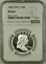 1956 Type 2 US Franklin Silver Half Dollar 50c Coin NGC PF-69* Star, Cameo