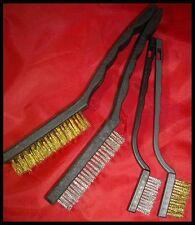 4 PC WIRE BRUSH SET SMALL MINI MICRO STEEL BRASS DIY RUST REMOVER REMOVAL METAL