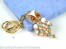 Large white owl Keyring Sparkling Rhinestone Diamante Handbag Buckle Charm