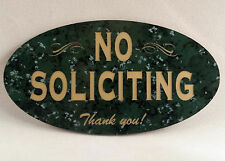 "No Soliciting Home Door Plaque Sign - LARGE 5"" - Select Color"