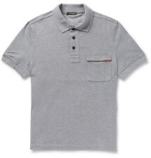 Berluti Gray Leather Trimmed Cotton Piqué Men's Polo Shirt Size 2XL 54