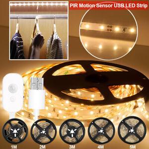 PIR Smart LED Strip Lights USB Motion Sencer Dimmable Lamp Cabinet Stairs Light