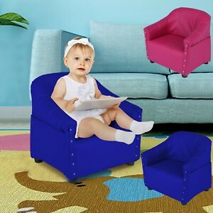 Kids Sofa Children Leather Princess Upholstered Couch Armrest Chair With Pattern