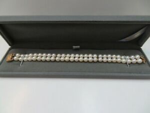 14k Solid Y. Gold Clasp Pearl Double Strand Bracelet 14k Space Bar