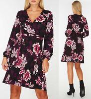 Dorothy Perkins DP Black Floral Print Wrap Dress Sizes 6 to 18