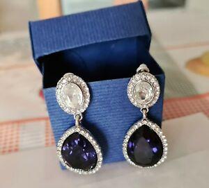 F&F Silver Tone Earrings Dark Blue Gemstone & Cubic Zirconia Crystals