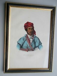 1838 Hand-Color LARGE FOLIO McKenney & Hall Indian Lithograph NO REPRO