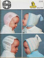 Sirdar Knitting Pattern Baby Hats Bonnets DK 4 Ply 0-4 Months Vintage 3315