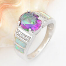 Top Quality 925 Sterling Silver Lovely Ladies Fire Opal Gifts Wedding Ring Sz 8