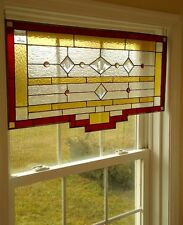 "Tiffany Styled Stained Glass Window Panel Valance Curtain 27""x17"""
