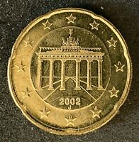 2002 J Germany 20 Cent Euro Uncirculated Coin Repunched Mintmark  (1695)