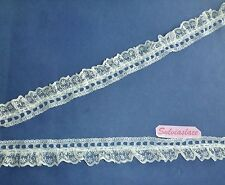 2 metres of Cream or White Lace Gathered onto Eyelet Lace 30 mm wide.