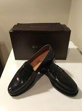 New Gucci Black Camaleon  Leather Penny Loafer Shoes Uk Sz 7.5 /US SZ 8  😎❤