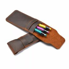 Pen Pouch Sleeve Vintage Brown Genuine Leather Handmade Planner Pencil Case