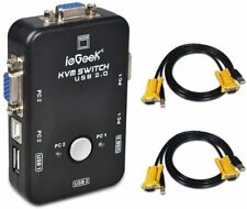 ieGeek Usb Kvm Switch Box + Vga Usb Cables for Pc Monitor/Keyboard/Mouse Control