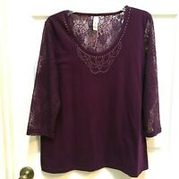 Purple embellished Top size XL Lace sleeves and inset by Decorated Originals