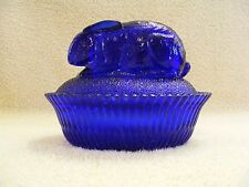 COBALT BLUE GLASS RABBIT COVERED CANDY/TRINKET DISH