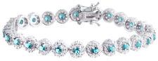 Sterling Silver 925 Womens Synthetic Light Blue Stone Bracelet 7mm Wide