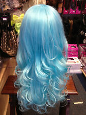 BEAUTIFUL LUXURIOUS LONG THICK UNISEX WIG FITS ALL Pale Blue    mermaid 26""