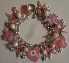BREAST CANCER AWARENESS BRACELET PINK RIBBON HOPE CURE BELIEVE CURE ANGEL HEART
