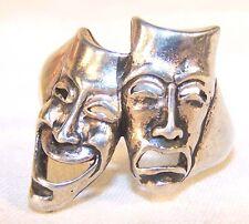 THEATER MASK HAPPY SAD  BIKER RING BR185 HEAVY silver mens women jewelry new