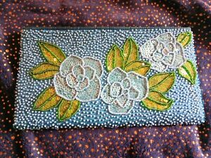 Women's Beaded Clutch/Purse Green & Blue