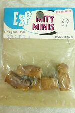 "NIP 4 Vintage Miniature Hard Plastic Owl Figures Hong Kong Crafts 1"" Mity Minis"