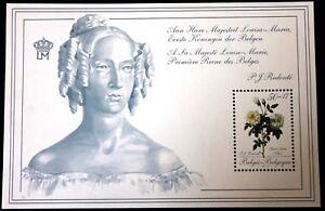 Belgium Block 1989 Queen Louise-Marie & Roses - MNH - Complete