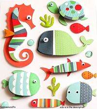 RECOLLECTIONS 3-D STICKERS - COLOURFUL GOGGLE EYED FISH & BUBBLES