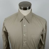 Paul Dione Mens Cotton 100s 2 Ply LS Button Down Beige Dress Shirt 15.5 32/33
