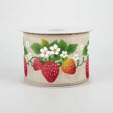 """Strawberry Blossoms Natural Ribbon 2.5"""" x 10 yards"""