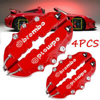 4x 3D Red Car Universal Disc Brake Caliper Covers Front & Rear Accessories Kit