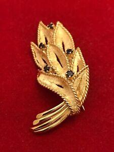 Vintage 14k Yellow Gold  Sapphire Brooch w Detailed Leaf Design